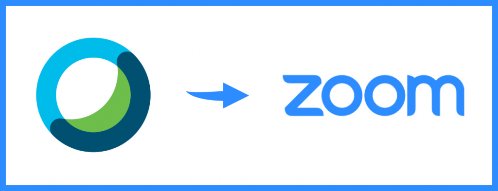 Webex logo with arrow pointing to Zoom